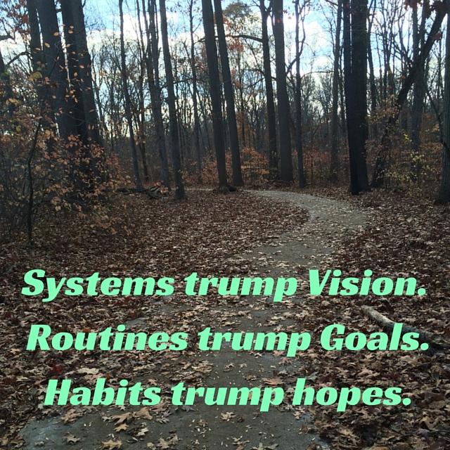 Systems trump Vision. Routines trump Goals.Habits trump hopes.